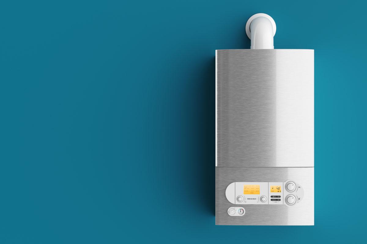Household gas boiler on blue background 3d illustration