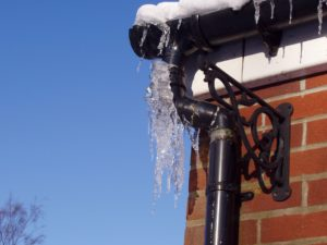 Frozen gutters during winter